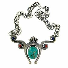 Navajo Aaron Anderson Sterling Silver Sandcast Turquoise Necklace