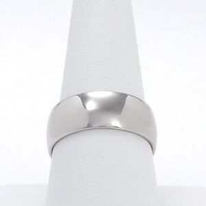 New 18k White Gold 750 Italy 8.2mm Wide Wedding Band Stacking Thumb Ring sz10