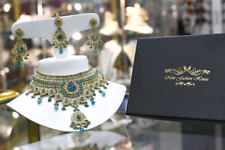 Indian bollywood jewellery bridal set, In Jade and Gold