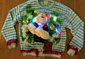 Men's PopEye Plush Light Up Christmas Holiday Ugly Sweater Large Built-in Bulbs