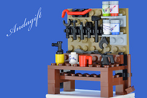 LEGO garage workbench with tools,  cup, oil can, paint pots  - NEW