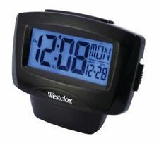 Westclox Black Easy to Read LCD Alarm Clock BatteryOperated Day Date Display