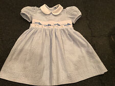 Carriage Boutique Baby Girl's White Smocked Dress Embroidered 24 Months porpoise