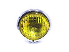 """Chrom Frontscheinwerfer gelb Glas 4 3/4 """" Vintage Retro Cafe Racer Maßfertigung"""