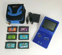 Nintendo GameBoy Advance SP Handheld AGS-001 Bundle - 6 GBA Games Charger Case