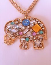 elephant necklace, Diva Trend Crystal encrusted gold plated