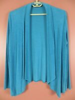 STK3783- PICADILLY Women's Slinky Travel Knit Open Front Jacket Dim Turquoise M