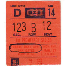 Hall & Oates Concert Ticket Stub Madison Square Garden 3/21/83 Maneater H20 Tour