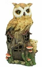More details for novelty owls house with led light figurine statue ornament owl gift