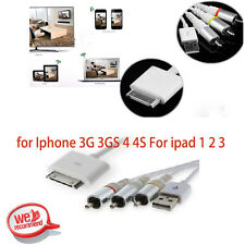 US AV Composite Video to TV-RCA Cable USB for Apple iPad 1 iPad 2 iPhone iPod OY