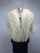 FREE SHIPG LADY NATURAL WHITE SHEAR CURLY LAMB FUR CAPE WITH LONG HAIR WOOL TRIM
