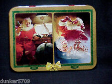 ONE COCA COLA PLAYING CARD METAL TIN FEATURING 2 SANTAS -NO CARDS INCLUDED
