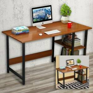Computer PC Desk 100cm Writing Table Workstation Wood Bookshelf Office Home UK