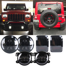 "Smoke Black 7"" Led Headlight Tail Fog Combo Kits For Jeep Wrangler JK 2007-2018"