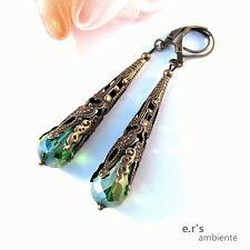 Ohrringe mit GLAS-KRISTALL-Tropfen, Bronze-Vintage-Look, 0587