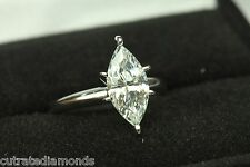 Ring 14 Karat White Gold 2.00 Ct Marquise Cut Engagement Solitaire