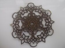 4 x round metal flower embellishments , anitque bronze colour, 5.5cm across