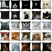 "18"" Cat & Horse Throw Pillow Case Linen Home Decor Sofa Car Waist Cushion Cover"