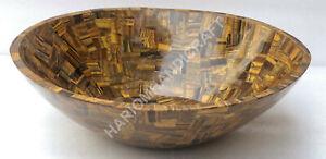 "18"" Marble Wash Basin Tiger Eye Semi Precious Stone Random Inlay Art Decor E1359"