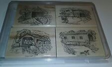 Retired 2003 Stampin Up Changing Seasons Stamp Set of 4 Covered Bridges New