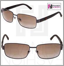 GUCCI GG2249F Square Sport Metal Rubber Gunmetal Brown POLARIZED Sunglasses 2249