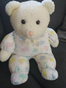 """12"""" VINTAGE WHITE TEDDY BEAR BABY COMFORTER SOFT TOY EDEN PINK GREEN SHEEP COWS"""