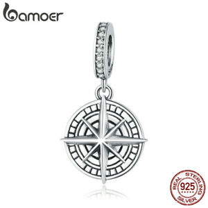 Women European S925 Sterling silver CZ Compass DIY Charm For Women Bracelet