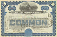 Western Maryland Railway > 1955 railroad stock certificate blue 100-share