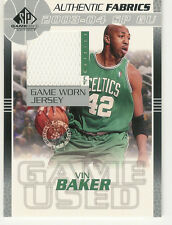 2003-04 UP SP GAME USED ED VIN BAKER JERSEY AUTHENTIC FABRICS BOSTON CELTICS