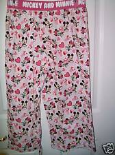 Mickey Minnie Mouse Pink White Capri Pajama Pants Junior Girls Size Medium NWT