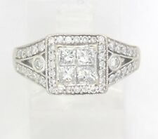 Diamond Engagement/Right Hand Ring 1.40ct 14k White Gold Princess & Round