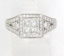 14k White Gold Princess & Round Diamond Engagement/Right Hand Ring 1.40ct