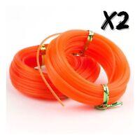 2 x Orange Heavy Duty Round Trimmer Strimmer Line 2.4MM x 15M