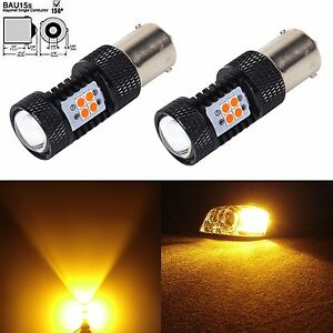 JDM ASTAR 2x 7507 BAU15S 3030 SMD Super Bright Amber LED Turn Signal Lights Bulb