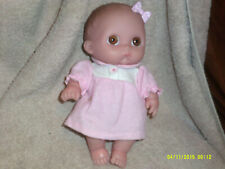 Berenguer Baby Doll*Soft Rubber*Big Brown Eyes*Pink Bow*Pink Dress*Collectible