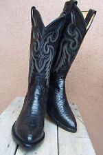 TONY LAMA Womens Rich Black Snakeskin Cowboy Boots Exotic Western Riding Size 9B