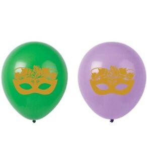 Mardi Gras Latex Balloons, 16-Pack 12inch Purple, Green, Gold Mask Birthday...
