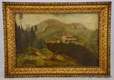 OOB European Villa Mountain Landscape Stag Deer Nice Antique Gilded Frame 8460