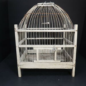 """Vintage Wood and Wire Small Bird Cage White Shabby Chic Rustic 12 x 10 x H 15.5"""""""