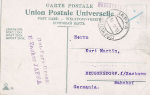 PALESTINE 1910 POSTCARD WITH CRETE OFFICE STAMP USED FROM JAFFA  TO GERMANY
