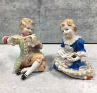 Wales Figurines Boy Playing Flute Girl Reading Hand Painted Porcelain Vintage