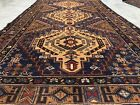Authentic Hand Knotted Afghan Vintage Zakani Balouch Wool Area Rug 7.5 x 4.0 Ft