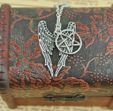 Cabochon Necklace Pentagram Wiccan silver Chain Glass Wing Tibetan HOT Pendant
