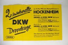 altes DKW Plakat - Doppelsiege Hockenheim 1956 - 125ccm 350ccm Klasse