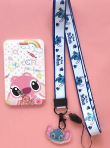 lot cartoon stitch blue key chain Lanyard acrylic ID Badge Holder Key Neck Strap