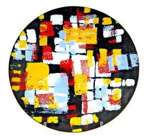 Emaille Schale abstraktes Motiv, Künstler Schale, Teller Kupfer emailliert