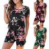 Summer Women's Ladies Floral Print Short Sleeve Jumpsuit Playsuit Beach Rompers