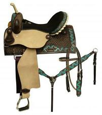 "14"" CIRCLE S 5PC PACKAGE Barrel Saddle Set With TEAL Painted ZigZag Border!"