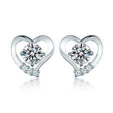 Women Silver Gold Filled Bling Rhinestone Crystal Smart Love Heart Stud Earrings