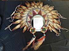 Aztec feather tribal head dress resin n metal home decor 21 x 17 large